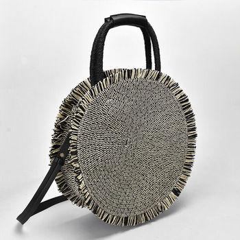 New round straw bag Bohemian women's shoulder bag fashion hand-woven rattan bag Tote beach bag 1