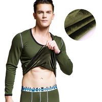 Superbody fleece thermal underwear winter men long johns set sexy mens thermo underwears O neck shirt pouch leggings pants
