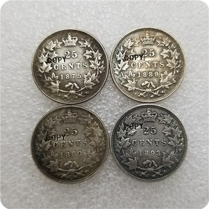 1875,1880,1889,1893 Canada 25 Cents COPY COINS(China)