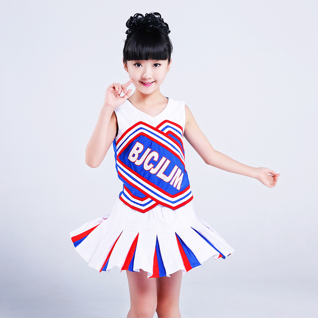 White Children Primary School Uniforms Set Girl Cheerleader Cheer Leaders Costume  Kid Aerobics Clothing Girls Uniforms 66b301c2d9ba