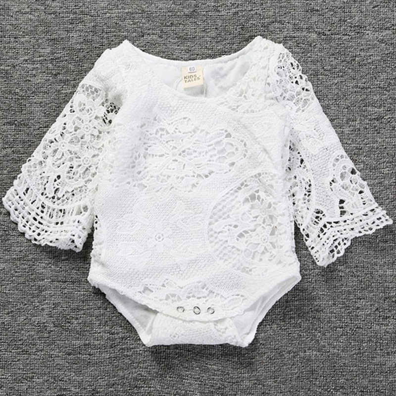 2017 Summer Newborn baby   rompers   Girls Dresses Soft lace bat Sleeves One-piece Dress Clothing Baby Clothing white party   rompers