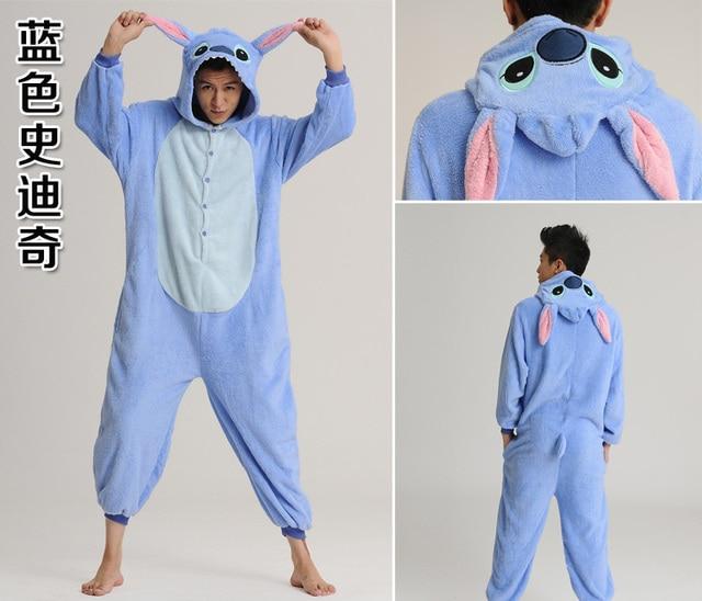 Neue flanell kinder erwachsene tier onesies blau stich cosplay ...