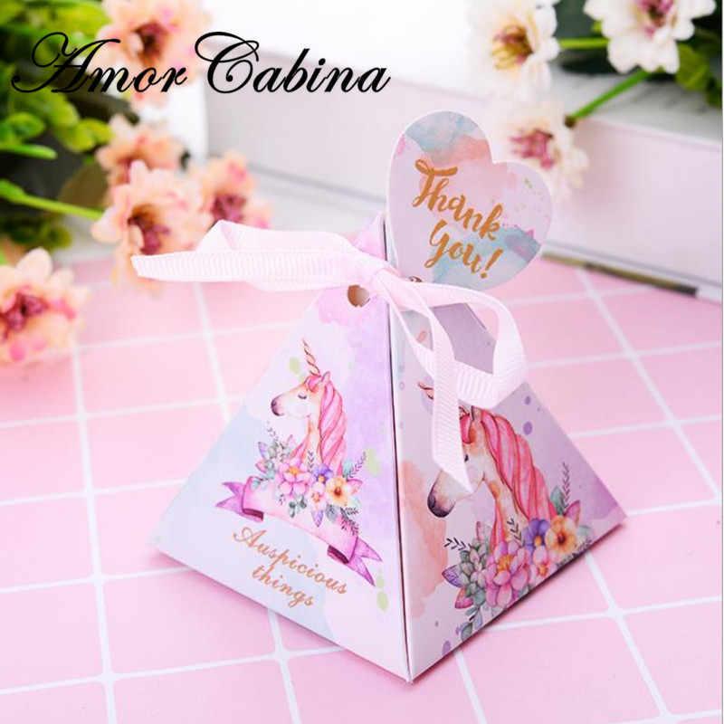 馬三角錐スタイルキャンディ紙箱結婚式の好意パーティー用品キャンディーギフトボックスの結婚式の装飾 100 pc