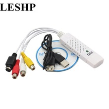 LESHP Portable Easycap USB 2.0 Audio Capture Card Adapter VHS to DVD Video Capture Converter For Win7/8/XP/Vista High Quality