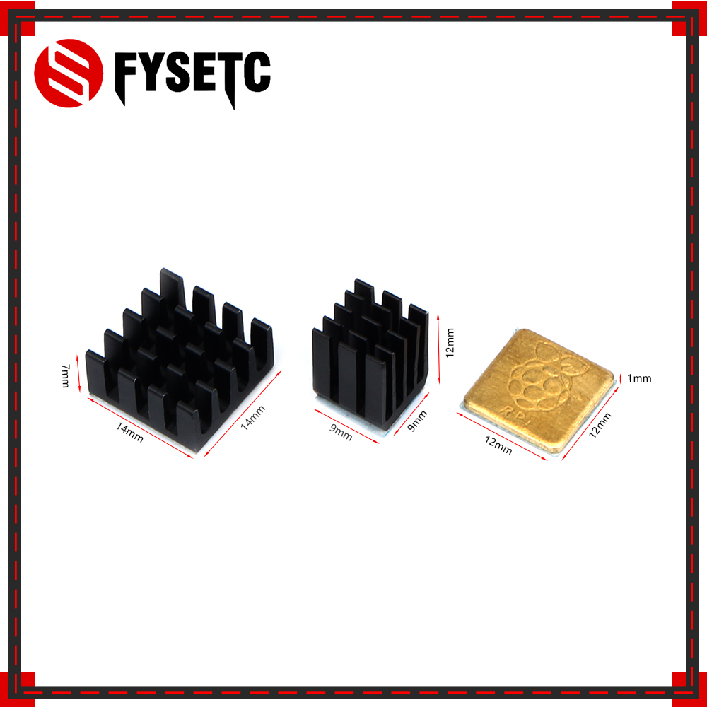 1Set Black Heatsink Cooler Pure Aluminum Copper Heat Sink Set Kit Radiator For Raspberry Pi 3 Model B / B Plus 3D Printer Parts