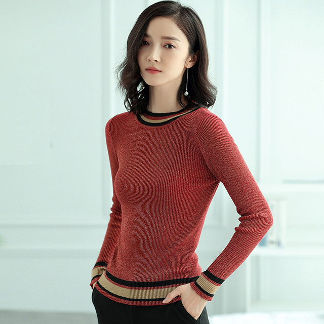 61877589f427b Glitter Bling Striped Sweater Women Color Block O Neck Long Sleeve Knitwear  Female High Elastic Shining Ribbed Knitted Pullovers