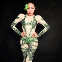 Sexy Nightclub Celebrate Bodysuits Female Rhinestone Green Overall Costume Women Shining Stage Wear Leotard Jumpsuit Outfits