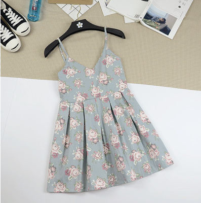 Summer Japanese Beach Party Dress Women Floral Cute Pleated Strap Mini Dresses Lady 2018 Cotton Femme Suspender Short Dress by Himifashion