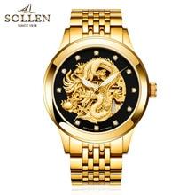 SOLLEN 40 мм все золото подлинной сапфир часы черный лицом водонепроницаемый световой автоматические механические часы бизнес-мужчины часы мужчин