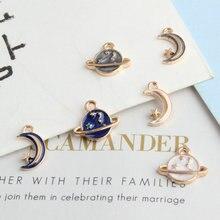 10pcs/Lot Universe Series Moon Satellite Drop Enamel Charm Pendants Accessories For Bracelet Necklace Earring Jewelry Making