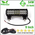 FREE SHIPPING Combo beam dual rows 12v waterproof 9 inch 54W off road car truck led work light bar 12v