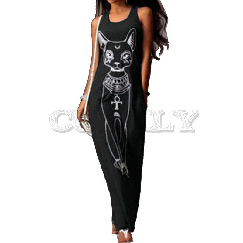 2019 Women Summer Long Maxi Dress Casual Cat Print Boho Beach Sexy Evening Party Bodycon CUERLY Largos Mujer XXXL