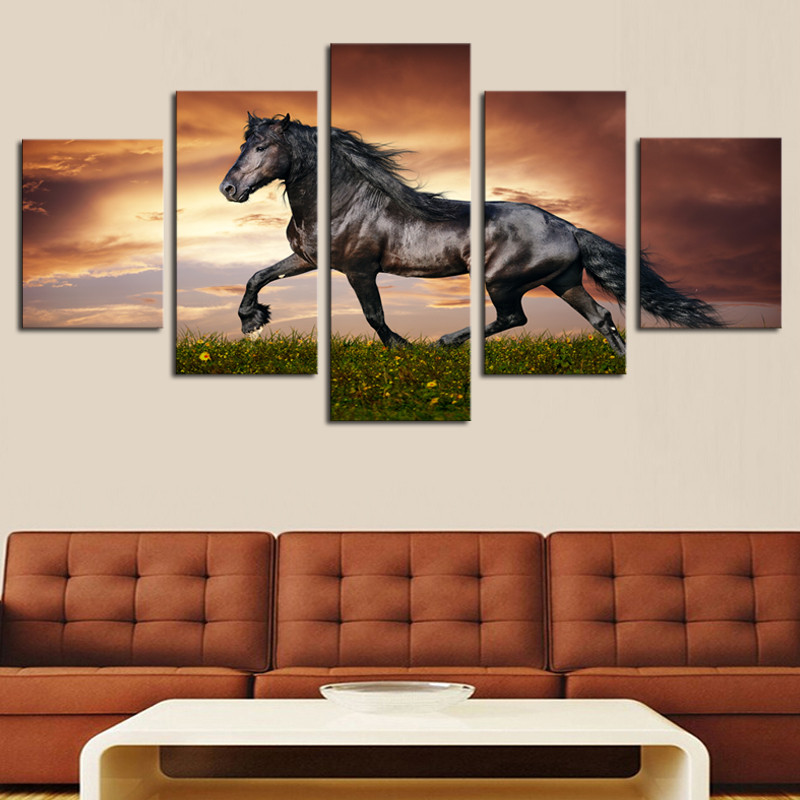Cheap Art Decor: Framed 5 Pcs High Quality Cheap Art Pictures Running Horse