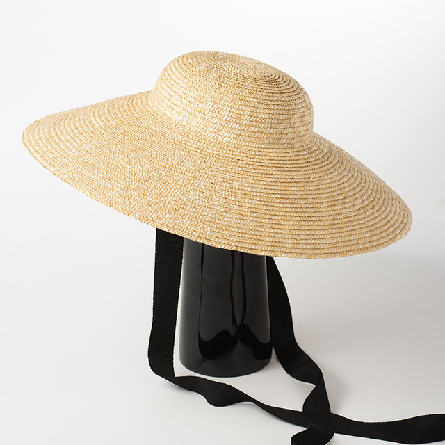 a4ab39eef0 [La MaxPa] Wide Brim Sun Hat for Women 2018 Summer Beach Straw Hats for  Ladies Vintage Bucket Hats with Ribbon Ties