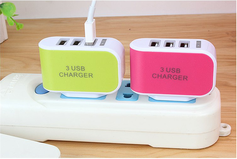 USB Charger 3 Ports +LED Display Portable Phone Chargers Fast USB Charging Travel Adapter