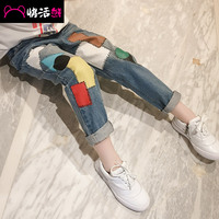 Child trousers girls child spring jeans 2017 child loose pants
