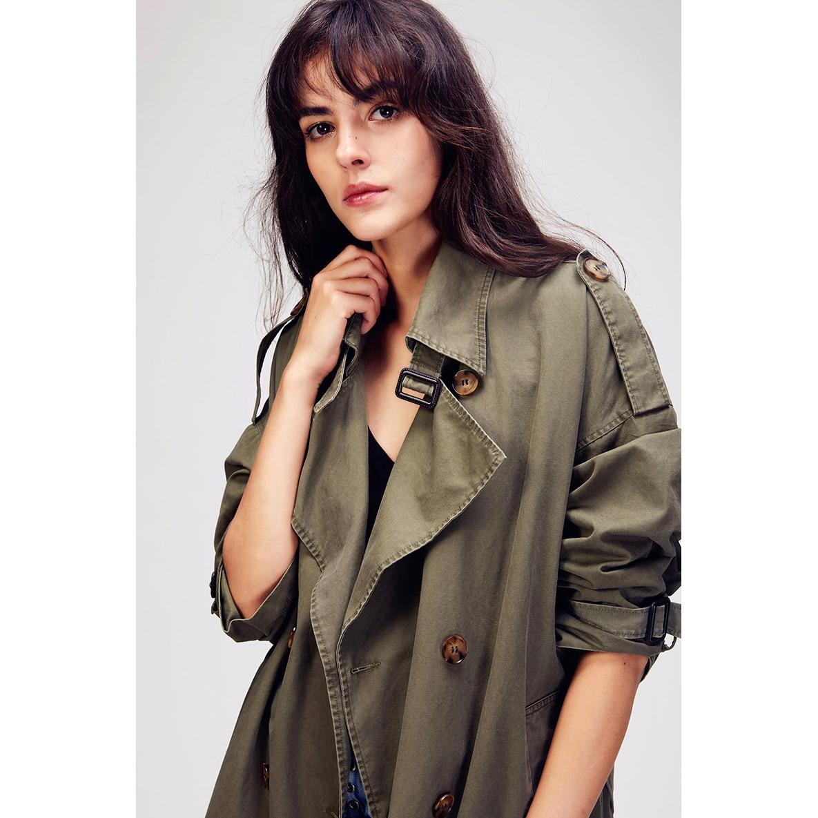 Delle Donne Autunno Abbigliamento Petto Outwear Di Dell'esercito Nuove Lavato 2018 Trincea Cappotto Allentato Oversize Verde Jazzevar Doppio cachi Vintage Casual rsdhCtQ