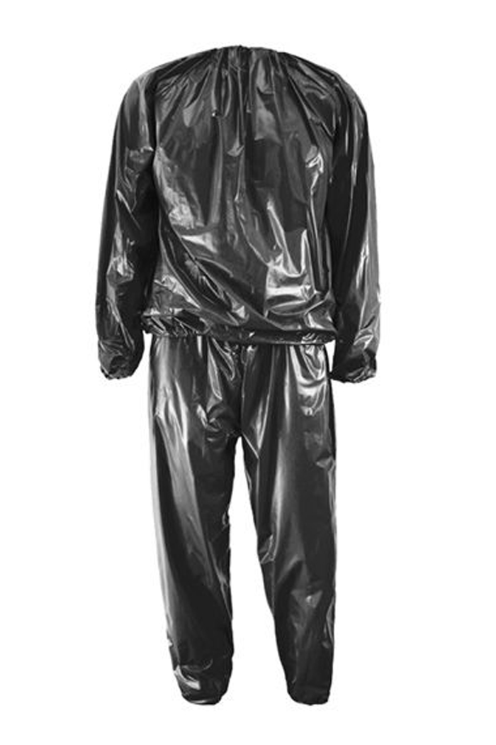 Heavy Duty Fitness Weight Loss Sweat Sauna Suit Exercise Gym Anti-Rip Black