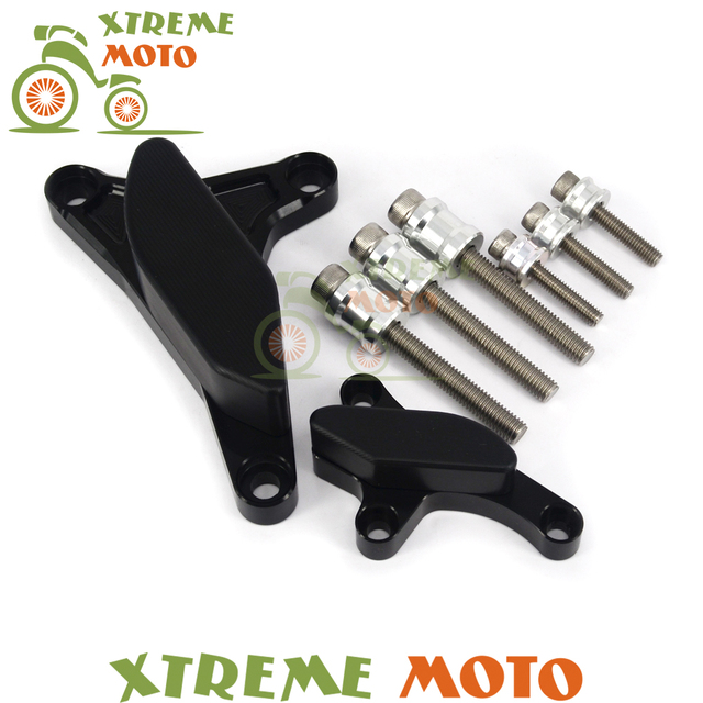 Black Motorcycle Engine Case Guard Cover Frame Slider Crash ...