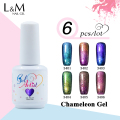 6pcs Free Shipping Gelartist Chameleon Gel Polish Long-lasting Soak Off UV&LED Gel Nail Polish Glitter Varnishes