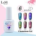 6pcs Free Shipping Gelartist Chameleon Gel Polish Long-lasting Soak Off UV&LED Gel Nail Polish Glitter Varnishes