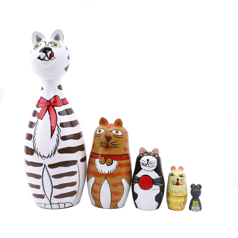 Hot Sale 5 Pcs/Set Cat House Russian Dolls Hand Painted Home Decor Birthday Gifts Baby Toy Nesting Dolls Wooden Matryoshka