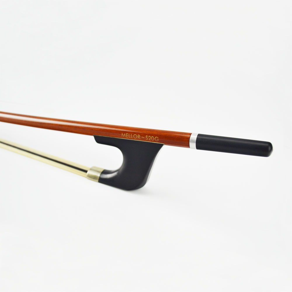 Pernambuco German Double Bass Bow Natural White Hybrid Black Horse Hair Warm Mellow and Wild Tone MELLOR Solo Level S20G 1 pc double bass bow 3 4 brazil wood bow stick and ebony frog white bow hair
