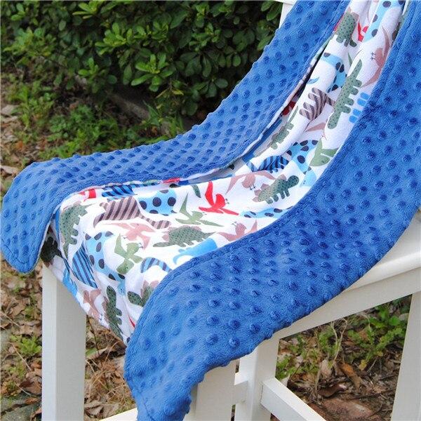 29e6015da8 Free Shipping Baby Blanket Minky Print Blanket Size 70cm 100cm Royal Blue Blankets  Dinosaur Blankets