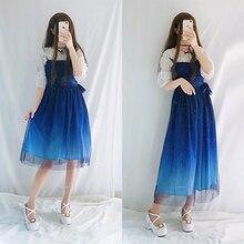 JSK/блестящие звезды; платье в стиле Лолиты; градиентное голубое нарядное платье для девочек; кружевное плиссированное платье с рюшами; комплект с рубашкой