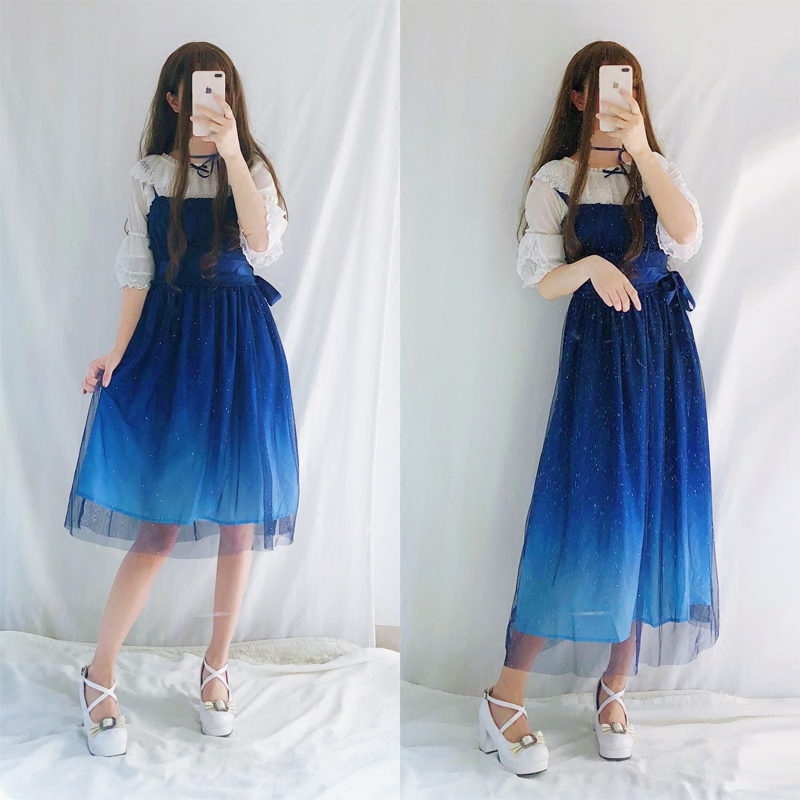 JSK Shinning Stars Lolita Dress Gradient JSK Star Blue Girls Solid Fancy Dress Lace Ruched Pleated Dress With Shirt Set
