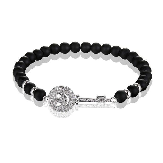Фото janeyacy брендовый модный браслет из бисера черный смайлик мужской