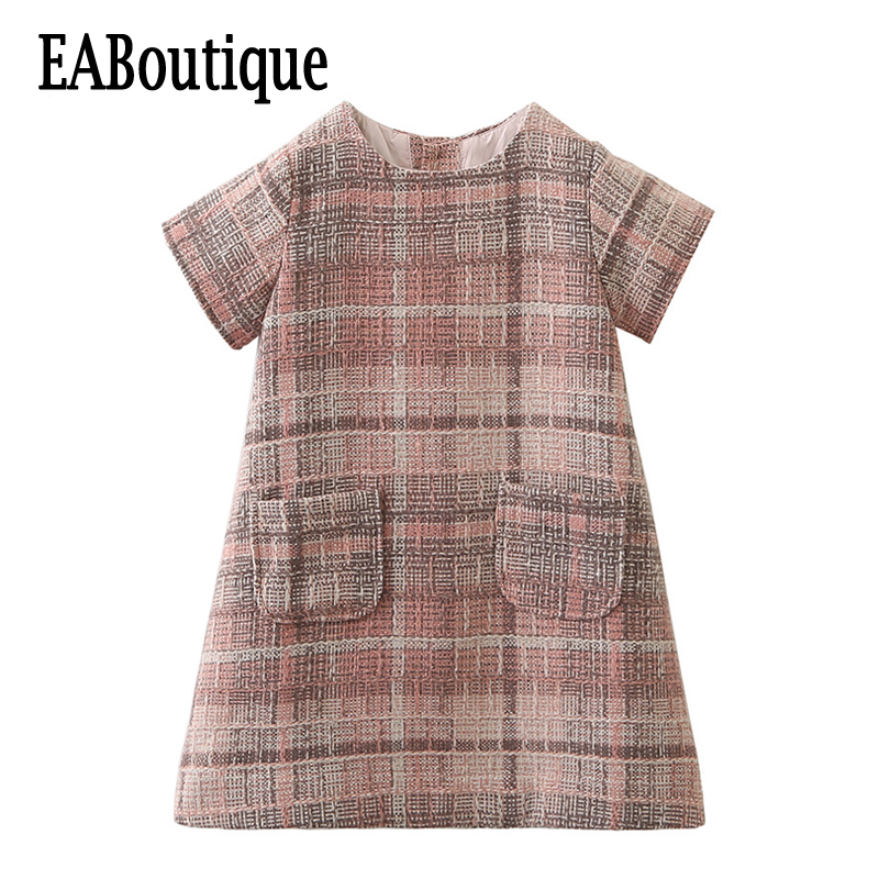 EABoutique New 2017 Vintage fashion Elegant plaid woolen fabric with pocket girls winter dress стоимость