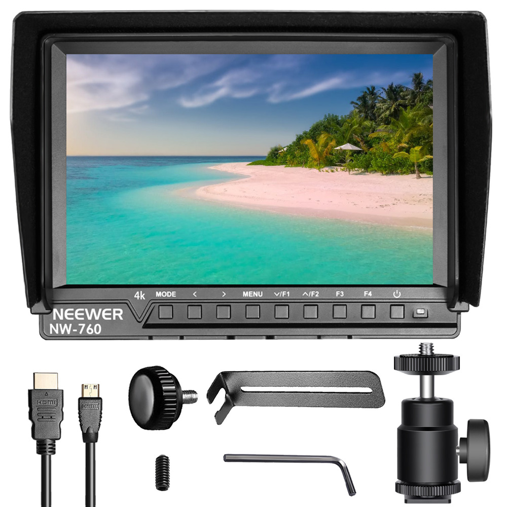Neewer NW-760(C) Camera Field Monitor Ultra-thin 7 inches IPS Screen 1080P Full HD 1920x1200 Support 4k Input HDMI with Histogra