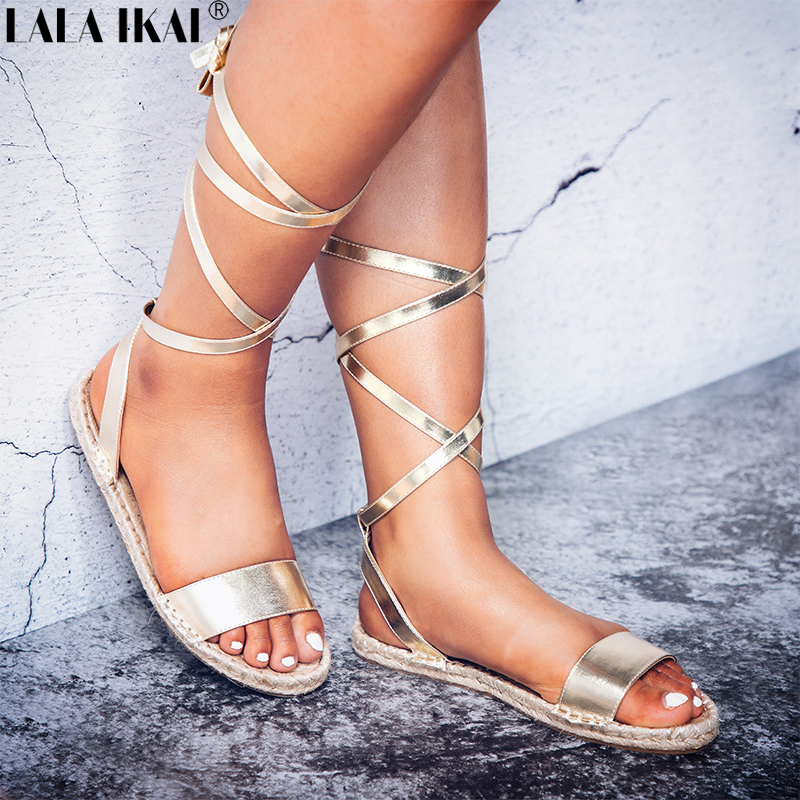 4e8e57b8b612d LALA IKAI Women Gladiator Sandals Summer Ankle Strap Sandals Cross tied  Flat Sandals Lace up Hemp Ladies Sandals XWA1691 5-in Low Heels from Shoes  on ...