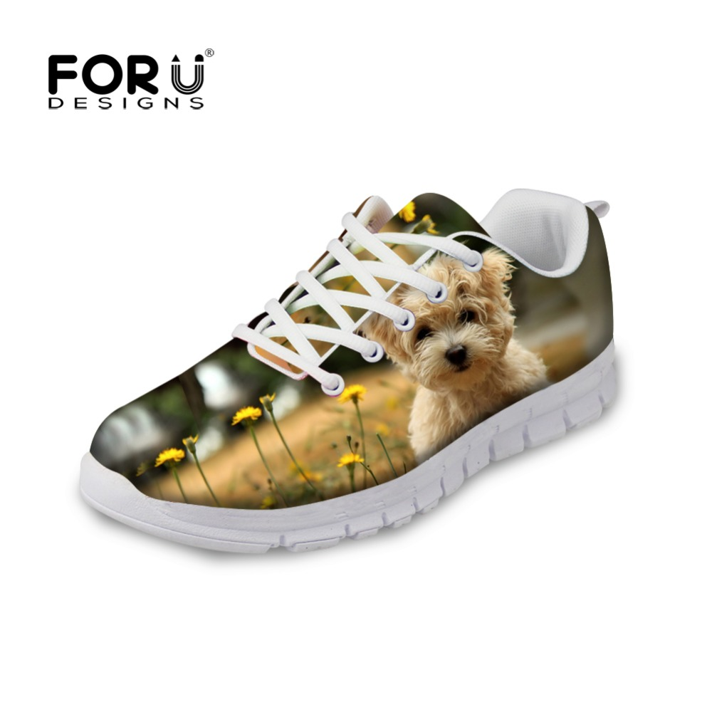 FORUDESIGNS Women Casual Shoes Cute Animal Dog Pattern Flats Shoes For Unisex Student Spring Summer Walking Shoes Zapatos Mujer