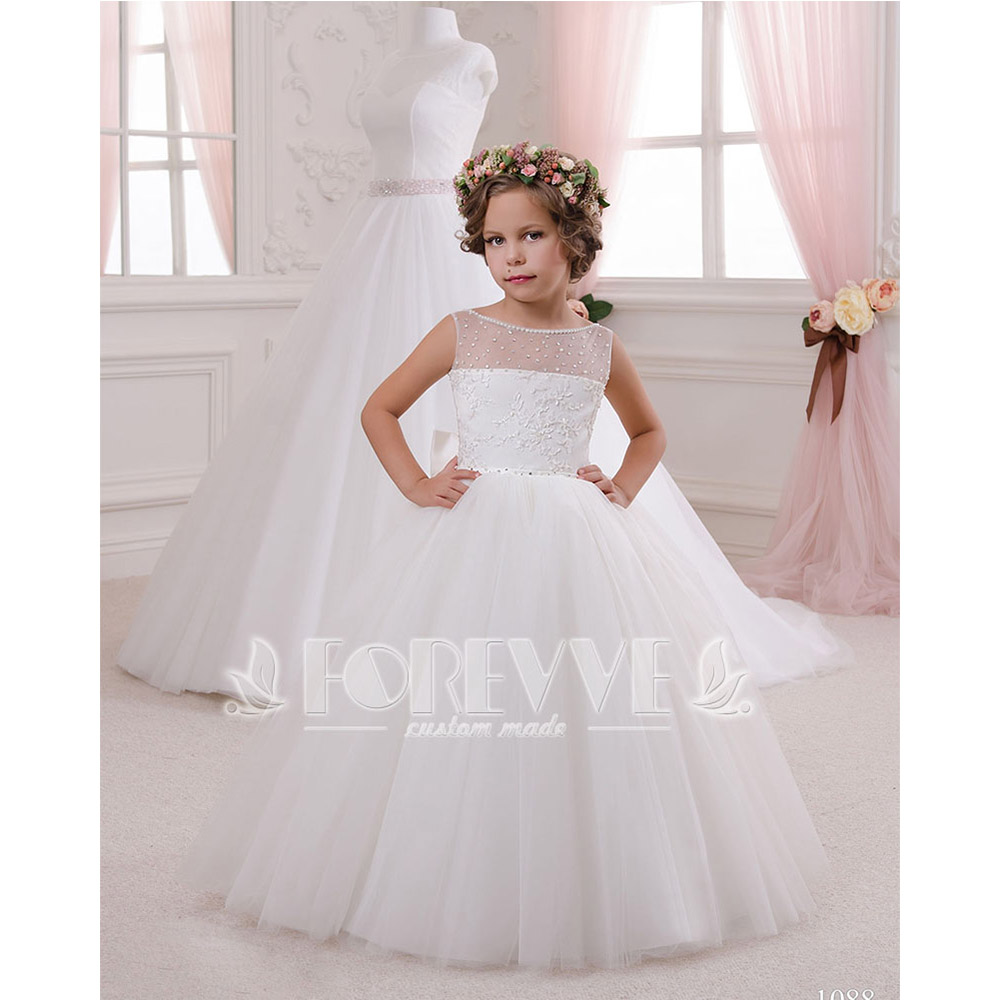 White Ball Gown   Flower     Girl     Dresses   2019 Appliques Beaded Sheer Pageant Little   Girl   Mother Gown Tiered Ruffles   Flower     Girl     Dress