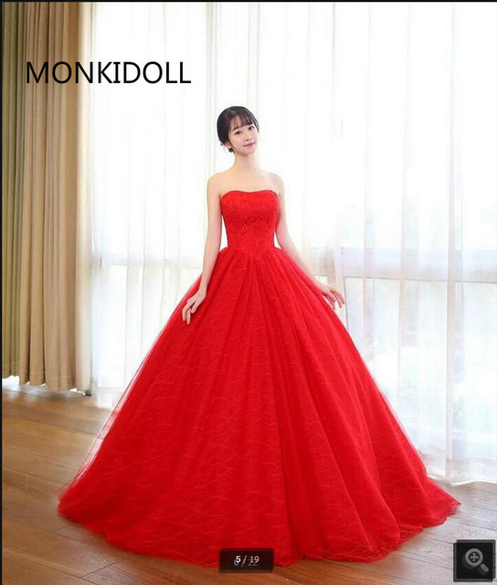 2017 Trouwjurk Plus Size Wedding Dresses Red Lace Princess Ball Gown