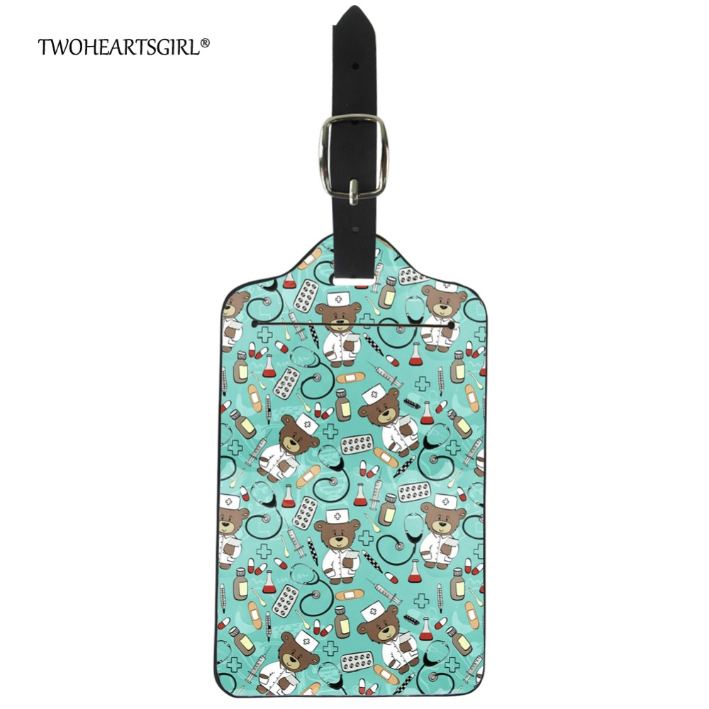 Twoheartsgirl Cute Nurse Bear Print Travel Accessories Leather Luggage Tag Adorable Suitcase Name Address Holder Baggage Label