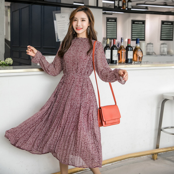 Elegant Stand Collar Floral Print Women Dress Full Sleeve Elastic Slim Waist Chiffon Spring A-line Long Dress 2