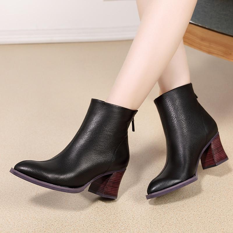 2019 vallu 정품 가죽 여성 패션 부츠 신발 양피 가죽 숙녀 발목 부츠 chunky heels 여성 신발 부티-에서앵클 부츠부터 신발 의  그룹 3