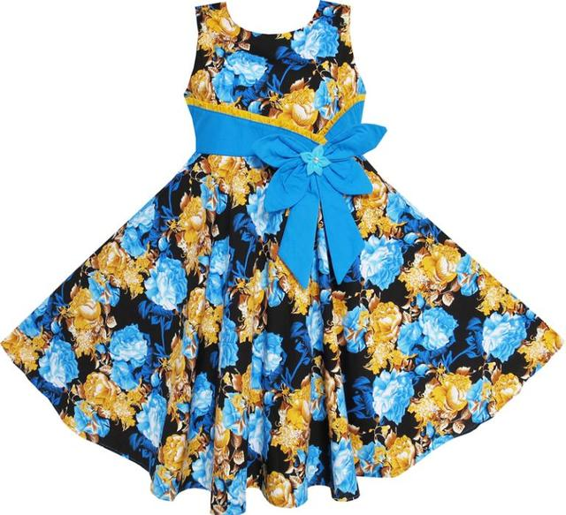 Sunny Fashion Flower Girl Dress Bohemia Gold Blue Bow Tie Everyday Summer Clothes Kids Cotton 2016 Summer Princess Size 6-12