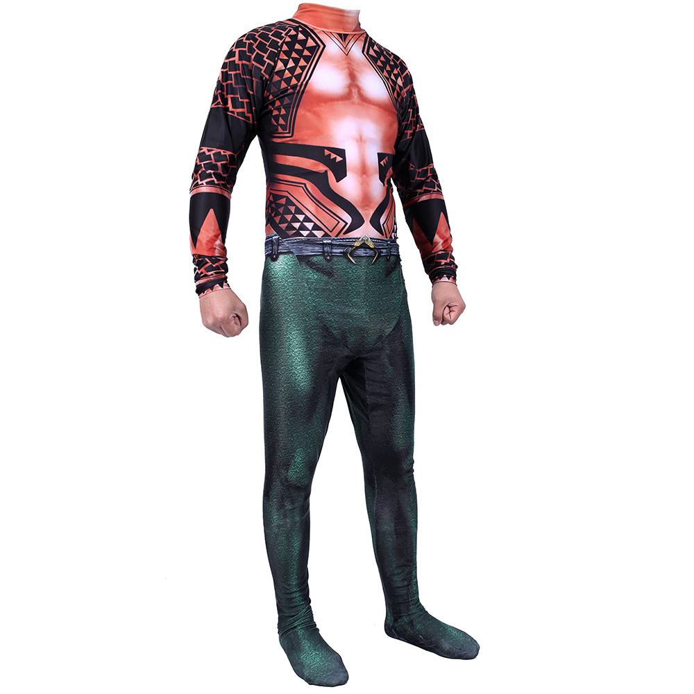 Justice League Aquaman Arthur Curry Bodysuit  Cosplay Costume Jumpsuits Halloween Bodysuit Adult Zentai Cosplay Costume