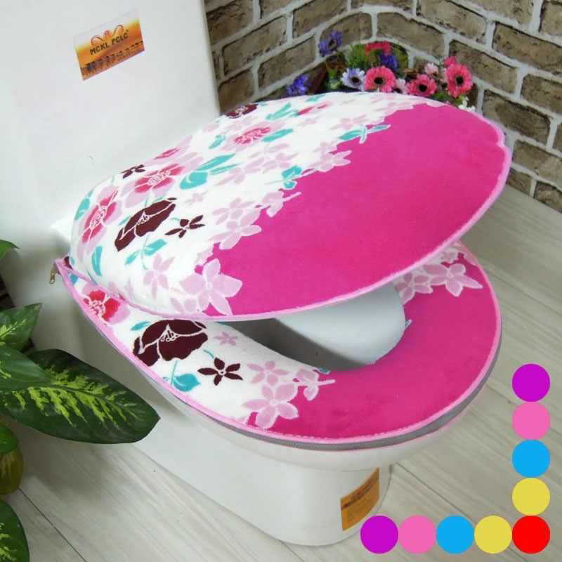 2 قطعة/المجموعة الحمام زهرة المرجان الصوف أدفأ طقم مرحاض سستة قعادة للماء المرحاض وسادة مقعد حمام حصيرة المرحاض غطاء مقعد