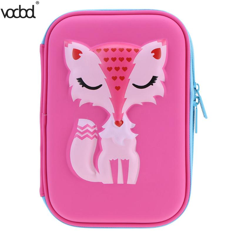 EVA Large Capacity Pencil Case Bag Cute Cartoon Animal Pencil Cases for Girl Stationery Fox Pen Bag Estojo Escolar School Supply cute cartoon fruit pencil case student pencil cases eva zipper large capacity pen bag school kids office supplies stationery