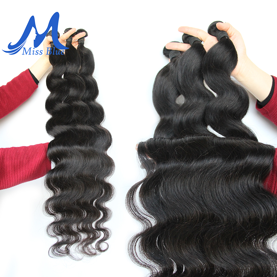Image 2 - Missblue Virgin Brazilian Body Wave Human Hair Bundles With Closure 32 36 38 40 inch 3 Bundle With 13x4 Transparent Lace Frontal-in 3/4 Bundles with Closure from Hair Extensions & Wigs