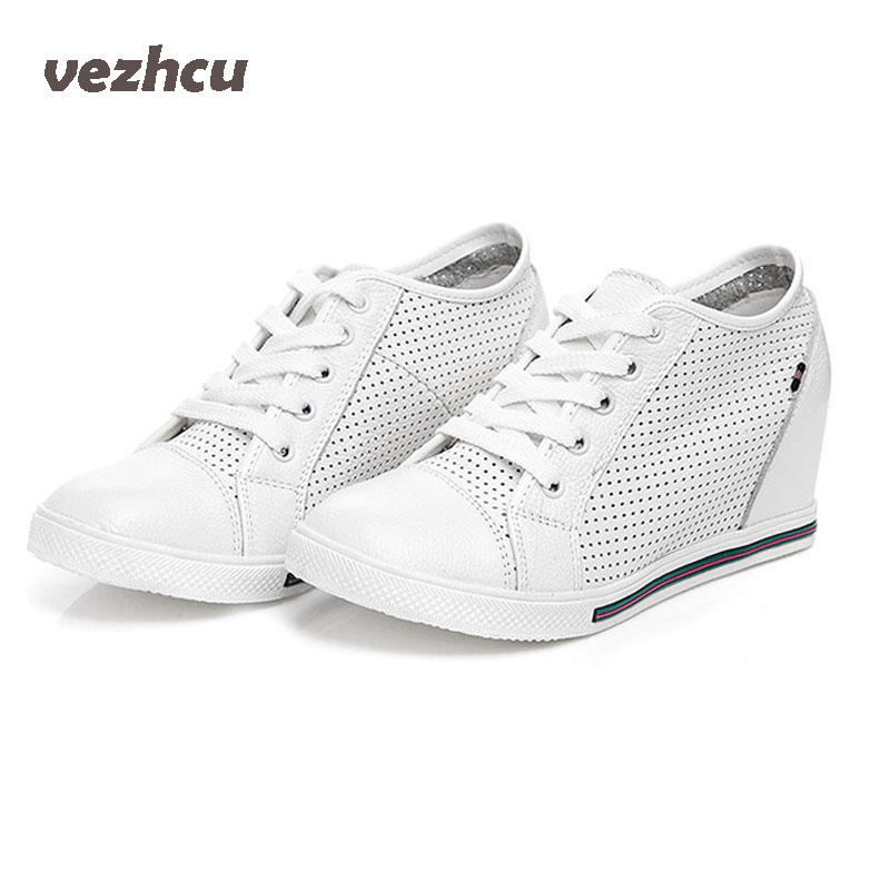 VZEHCU Casual Women Shoes Summer Breathable Genuine Leather Lace Up Wedges Shoes Fashion Increasing Platform Shoes