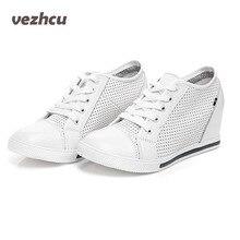 Vzehcu повседневная женская обувь Летняя дышащая натуральная кожа туфли на танкетке на шнуровке модные увеличивающие рост женская обувь на платформе 4d12
