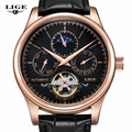 LIGE Brand Fashion Casual Business Leather Watch Men Tourbillon Moon Phase Date mechanical Watches Mens Sport Clock Man relojes