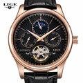 LIGE Marca Fashion Business Casual Couro Assista Men Tourbillon Fase Da Lua Data Relógios mecânicos Do Esporte Dos Homens Homem Relógio relojes