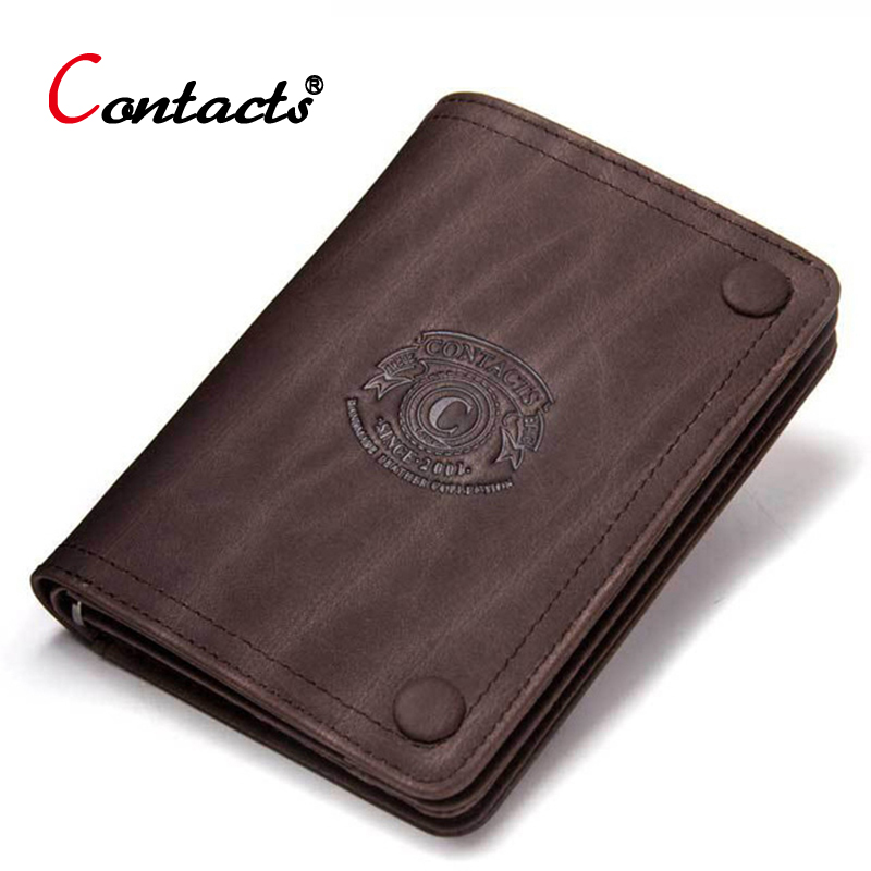 CONTACT'S Crazy Horse Cow Genuine Leather Wallet Men Wallet Male Purse Small Credit Card Holder Coin Purse Slim Money Bag Perse